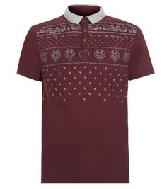Dark Red Paisley Panel Polo Shirt. •Whether casual or smart, you can also add a touch of Prints Charming to your style. With a flash of paisley this classic style is transformed into the perfect trans-seasonal piece.