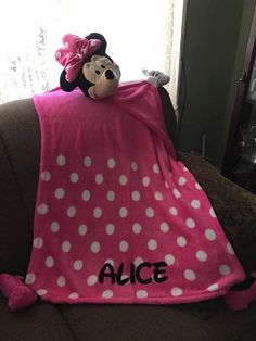 Cuddleuppets Minnie Mouse Plush Puppet Blanket Throw Personalized by CACBaskets on Etsy