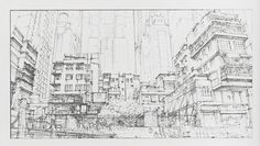Layout drawing from Oshii's version of Ghost in the Shell, 1995.