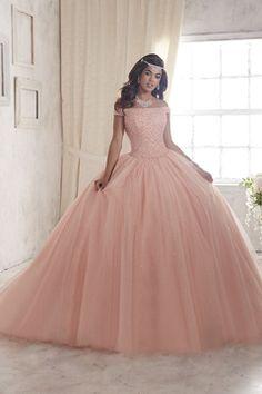 2017 de bola del vestido del cuello del barco Quinceañera vestidos de tul con rebordear
