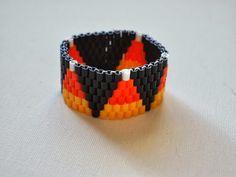 Candy Corn inspired Perler Bead Bracelet 2