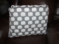 Custom Chair Pad - Mod Baby - Sleepy Elephant - Gray and White - 2 inch chair pad - Spoonflower Fabric by GreenMountainBoHo on Etsy