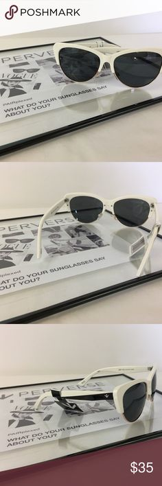 💙Perverse Sunglasses 🕶 are now available here! 💙Perverse Sunglasses 🕶 are now available here! I have multiple styles ready for purchase and ready for Coachella ✌🏻! Complete your outfit with a pair of these awesome shades! This pair is a white frame with dark lenses and gold accents. Perverse Accessories Sunglasses