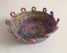Batik fabric wrapped coil bowl, fabric bowl, catch-all, coiled rope basket, fiber arts basket Rope Basket, Basket Weaving, Rope Art, Fabric Bowls, Indian Block Print, Rope Crafts, Weaving Art, Fabric Art, Fabric Scraps