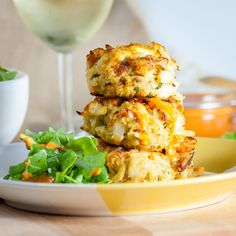 Crab Cakes & Red Pepper Remoulade -- No more anxiety over flipping your crab cakes. Huge chunks of crab have only enough filler to hold them together but are foolproof. Seafood Recipes, Cooking Recipes, Healthy Recipes, Seafood Meals, Shellfish Recipes, Seafood Dishes, Great Recipes, Dinner Recipes, Favorite Recipes