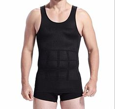 fa70842271 Men Body Slimming Tummy Shaper Belly Underwear shapewear Waist Girdle shirt  Vest Black SizeXL