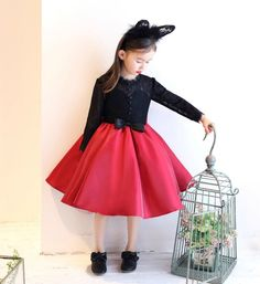 Stand Up Lace Collar Dress-Made To Order - High Quality  Round Neckline Long Sleeve Knee Length Big Bow Back Infant Toddler Little & Big Girl Lace Party Ruffle Dress. Available from 2 years until 12 years. Material: Cotton & Satin. Color: Black & Red. Please do compare your  little girl measurements with our size chart below before deciding her size.