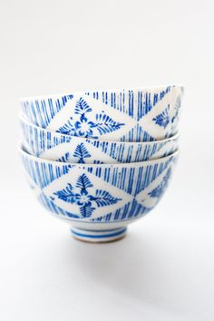 Antique Geometric and Leaf and Flower Pattern Japanese Tea Cups(Set of Three)