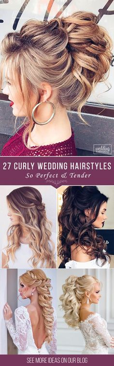 27 Oh So Perfect Curly Wedding Hairstyles ❤ Almost all of the curly wedding hairstyles are for girls with straight hair. It will create a nice effect for brides. Take a look at different variants! See more: http://www.weddingforward.com/curly-wedding-hairstyles/ #weddings #hairstyles