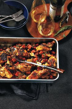 Balsamic roast chicken with caramelized pearl onions, olives and tomatoes {Photography by Edward Pond}