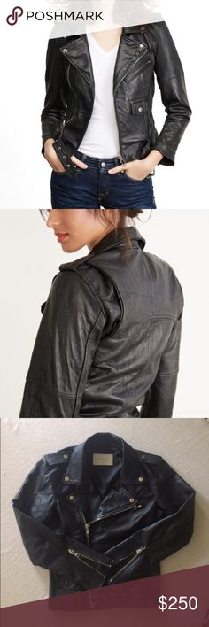 NWOT Leather Moto Jacket by Deadwood New without tags. Size XS/S. Currently on sale at Amour Vert for $278. Please see description in last pic. Made of recycled leather so each Jacket varies, making it unique. I'm happy to answer questions! Madewell tagged for exposure. Madewell Jackets & Coats
