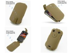 PDair Leather Case for BlackBerry Bold 9900/9930 - Flip Top Type (Tan)