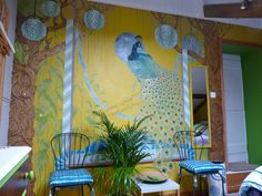 My Peacock Garden room...hand painted mural and room design by Diane Marsland