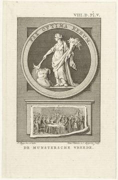 Reinier Vinkeles | Allegorie op de Vrede van Munster, 1648, Reinier Vinkeles, Cornelis Bogerts, 1780 - 1795 | Allegorie op de Vrede van Munster, 1648. Embleem met Vrede die het vuur van de oorlog dooft. Daaronder een opgespijkerd papier met een voorstelling van het beëdigen van de Vrede van Munster op 15 mei 1648, in de grote zaal of Friedenssaal van het stadhuis te Munster.