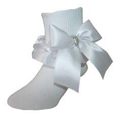 Born to Love Boys White First Communion Baptism Christening Socks with Cross Embroidery