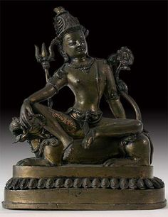Nepalese Bronze Buddha Statue Shiva Riding On Lion Origin: India, Circa: Early 20th century