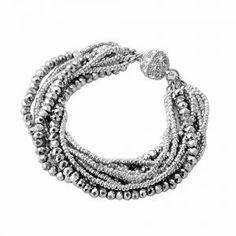 pulsera de cristal plateado con bola brillante para mujer -ACBTG78105