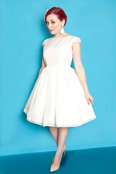 1950s inspired ivory wedding dress, ivory lace and silk wedding gown, 50s cap sleeve short bridal gown, mad men wedding dress  CUSTOM MADE
