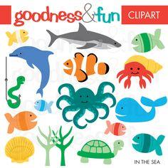 Playful sea clipart set from MyGrafico