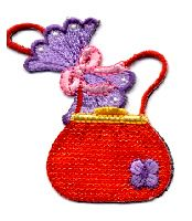 RED HATTERS IRON ON APPLIQUE EMBROIDERED PURSE/HANKY SET