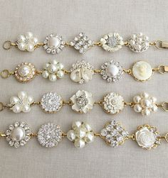 Set of 4 bridesmaid bracelets wedding bracelet vintage