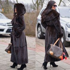 New Women Full Pelt Hoodie Real Mink Fur Coat Long Lapel Jacket Hooded Overcoat Grown Women, Fashion Guide, Professional Look, Mink Fur, Fur Fashion, Leather Gloves, Furs, Style Guides, Vison