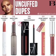 Fenty Beauty Uncuffed Stunna Lip Paint Dupes - All In The BlushYou can find Contouring and more on our website. Beauty Dupes, Beauty Makeup Tips, Makeup Geek, Eye Makeup, Beauty Hacks, Diy Beauty, Beauty Ideas, Beauty Care, Homemade Beauty