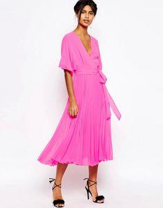 Image 1 ofASOS Wrap Kimono Pleated Midi Dress