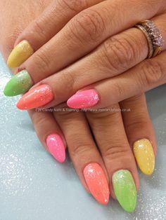 Bright multicoloured gel polish with glitter fade #nails #nailart