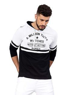 Buy Maniac Men's Slim Fit Cotton Hooded Neck T-Shirt (White Black, Medium) at Amazon.in