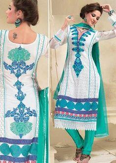 $106.63 White Full Sleeve Georgette Knee Length Punjabi Salwar Kameez 18311