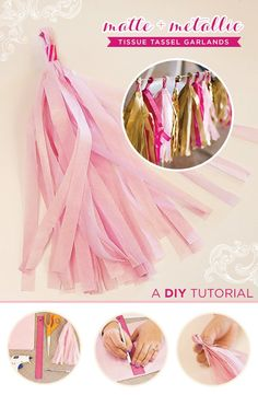 A tissue tassel garland tutorial by hwtm used in a Royal Baby Shower for dessert table decoration, centerpiece sparkle and overall affordable party style!