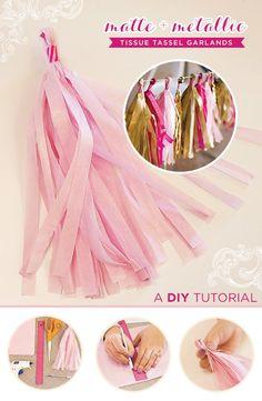 DIY Tutorial: Tissue Tassel Garland {Matte + Metallic} // Hostess with the Mostess®
