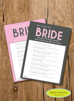 INSTANT UPLOAD - Bridal Shower Game - Here Comes The Bride - Pink & Gray Shower Game -  Bachelorette Party Game  Wedding Shower by PaperEtiquette on Etsy https://www.etsy.com/listing/163826628/instant-upload-bridal-shower-game-here