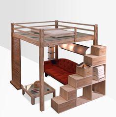 Cama alta de madeira YEN | Cama alta - Cinius