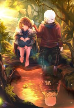frisk, sans, and undertale image
