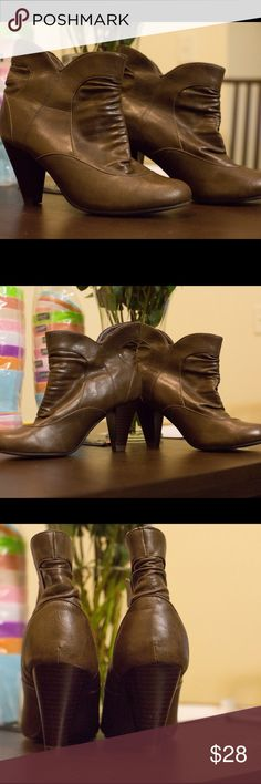 Madden girl booties Madden Girl pleather booties, brown color. No obvious damage with a lot of life left Madden Girl Shoes Ankle Boots & Booties