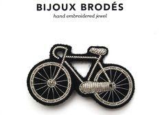 Broche brodée Macon - Vélo argent