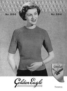 Vintage Ladies Classic Jumper Knitting Pattern by LittleJohn2003, $3.00