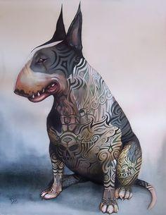 Watercolour Bull Terrier by Dominic Murphy