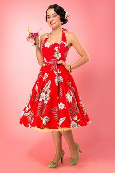 Bunny - 50s Retro halter 50s Alika Tropical Dress in Red Hibiscus