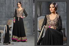 Thankar Riya Sen Black Long Anarkali suit-Clothing-Thankar