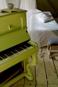 I would love a painted upright piano.  So fun . . .