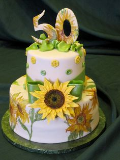 Painted Sunflower Cake by EB Cakes, via Flickr