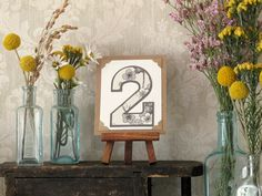 Custom Wedding Table Numbers  Tiny Art w/ Easel - Rustic, Vintage-Inspired, Natural via Etsy {joblake}
