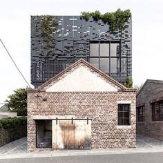 australian architecture firm DKO has adapted this building with a listed façade into apartments by inserting a perforated metal box set 1.3 meters within the existing walls to create a 'shadow gap' between old and new. read the article on #designboom! #architecture #melbourne