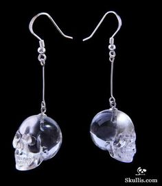 Top Clear! Quartz Rock Crystal Carved Crystal Skull Earrings, Silver Ear Wire Hooks
