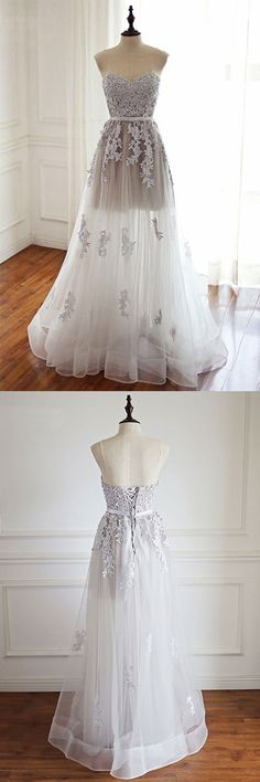 White sweetheart lace tulle long prom dress, wedding dress, lace evening dress