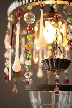 "Another oh-so-fabulous lamp/chime/chandelier! More in ""Repurposed Materials."""