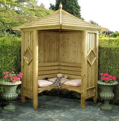Shire Corner Gazebo Arbor Seat - Hexagon Gazebo Style Design